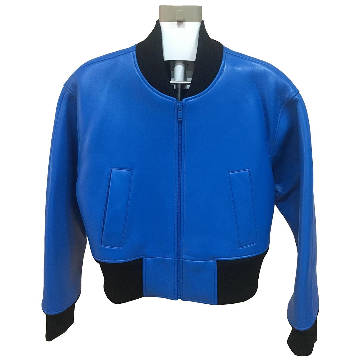 Dkny - Veste   pour femme en cuir - bleu