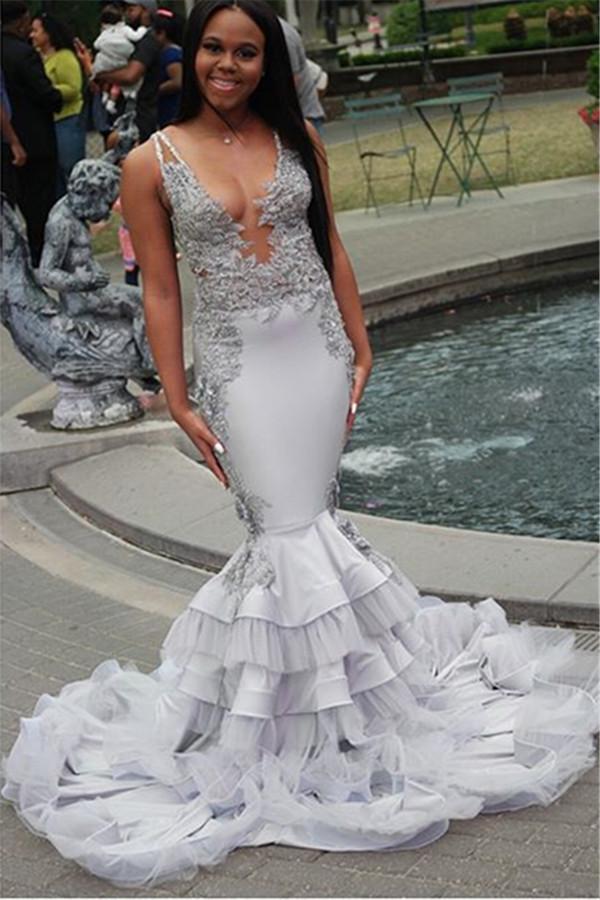 Correas elegantes apliques de encaje unicos vestidos de baile | Vestidos de noche de volantes de tul transparentes seductores