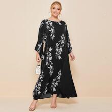 Maxi Kleid mit asymmetrischem Saum und Schosschenaermeln