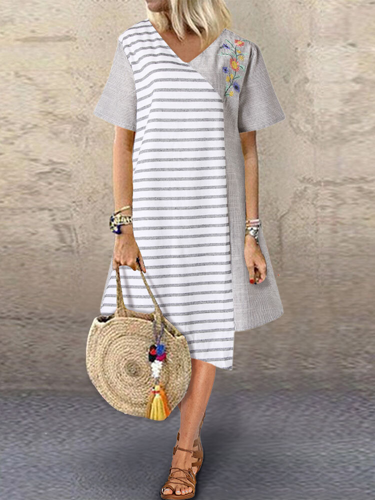Embroidery Striped Patchwork Short Sleeve Plus Size Dress