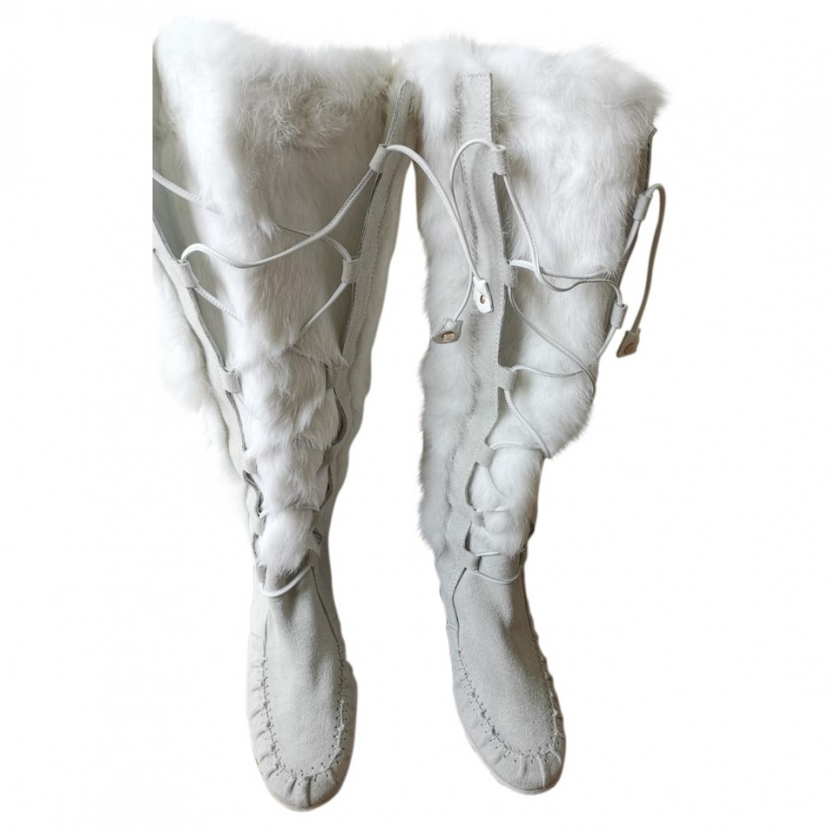 Celine - Boots   pour femme en suede - blanc
