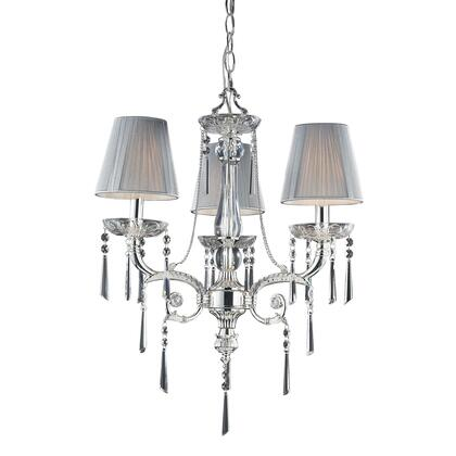 2395/3 3 Light Chandelier in Polished Silver and Iced