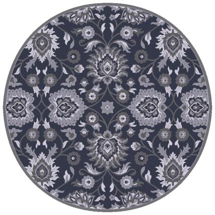 Caesar CAE-1191 4 Round Traditional Rug in Navy  Charcoal  Medium Grey