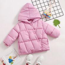 Puffer Mantel mit Taschen, Knopfen und Kapuze