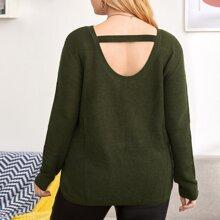 Rippenstrick Pullover mit Ausschnitt hinten