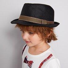Kleinkind Jungen Stroh Hut mit Streifen Muster und Guertel Dekor