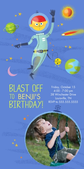 Kids Birthday Party Invites Flat Matte Photo Paper Cards with Envelopes, 4x8, Card & Stationery -Blast Off Space Birthday