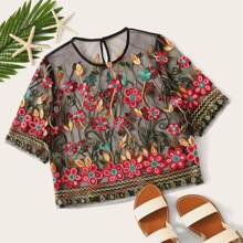 Floral Embroidered Crop Mesh Top
