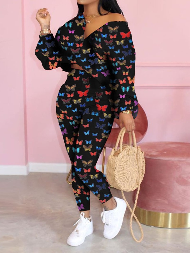 Ericdress Animal Patchwork Fashion Pencil Pants Pullover Two Piece Sets