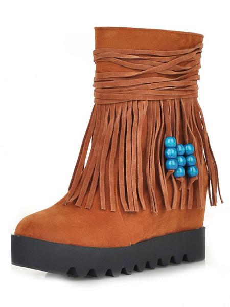 Milanoo Women Bohemia Boots Suede Round Toe 3.1 Wedge Heel Winter Boots With Tassel