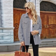 Flap Pocket Houndstooth Tweed Coat