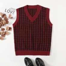 V-neck Houndstooth Pattern Sweater Vest
