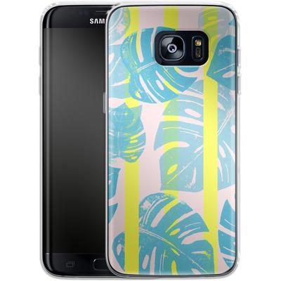 Samsung Galaxy S7 Edge Silikon Handyhuelle - Linocut Monstera Neon von Bianca Green