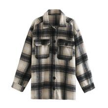 Mantel mit Karo Muster und Knopfen vorn