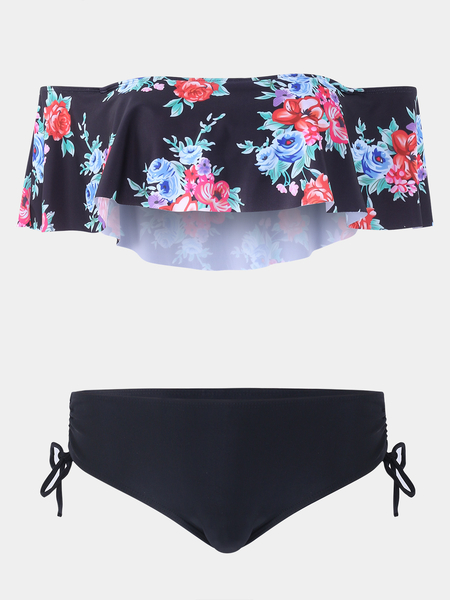 Yoins Black Lace-up Design Floral Print Off The Shoulder Padded Without Steel Swimwear