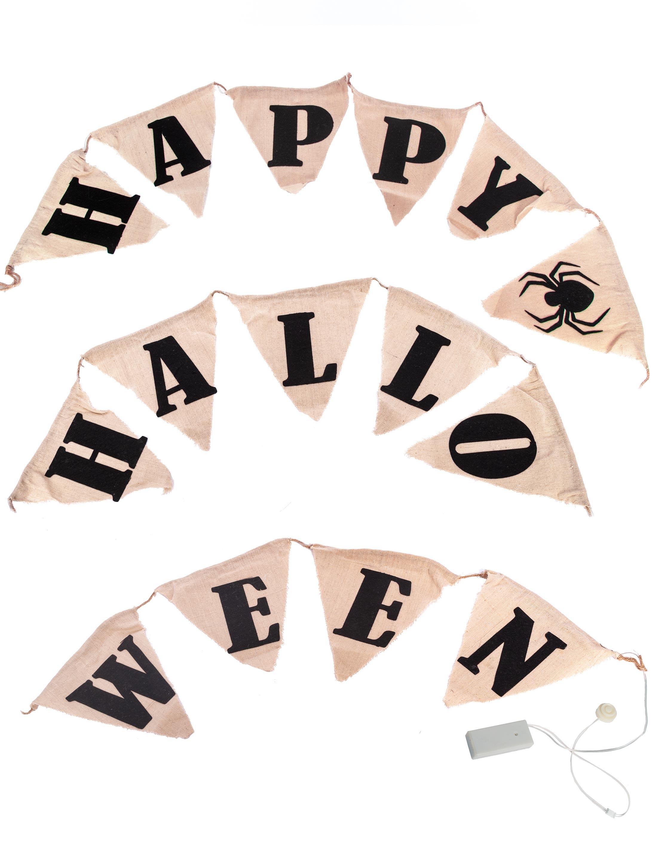 Girlande Happy Halloween leuchtend Farbe: schwarz/weiss