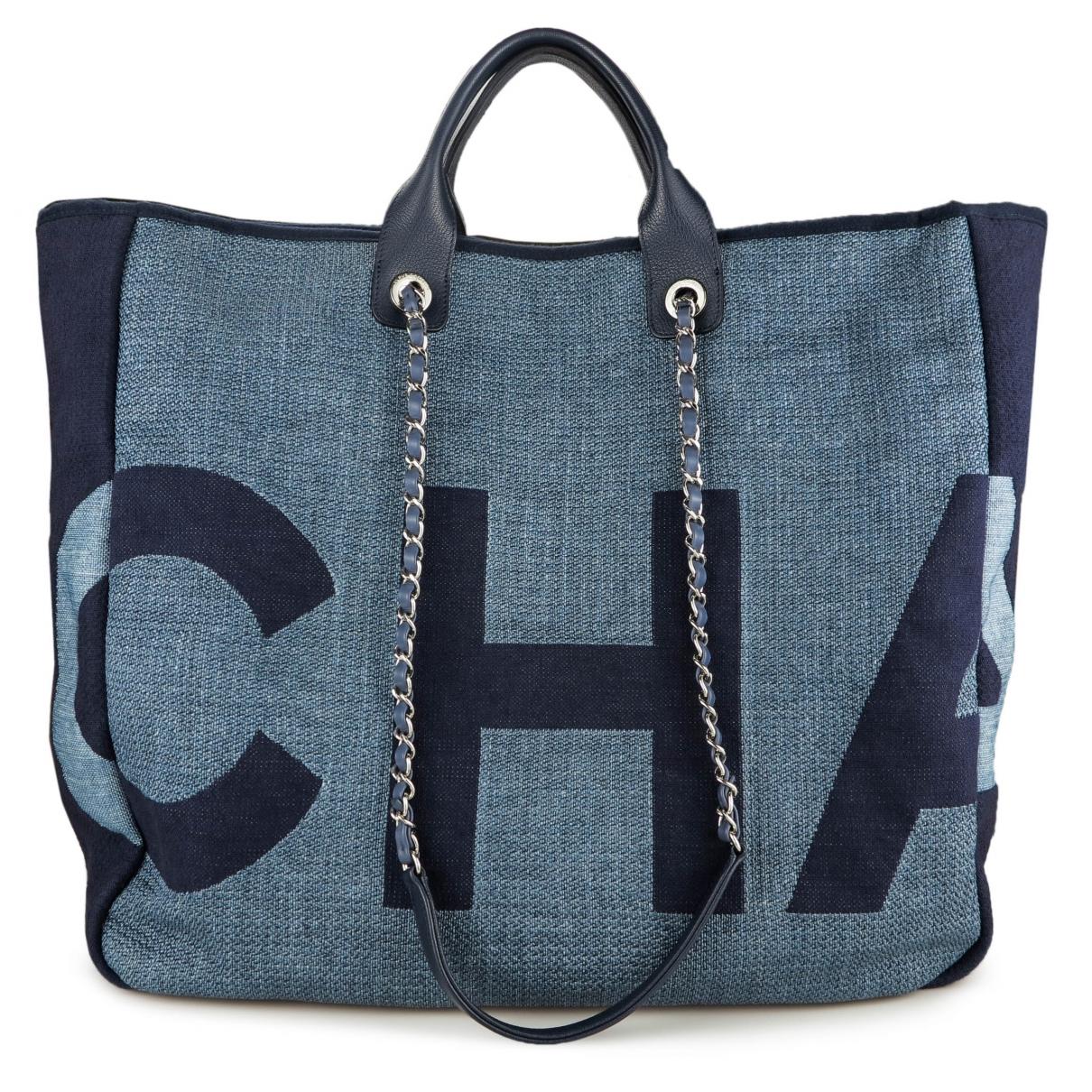 Chanel Deauville Handtasche in  Blau Leinen