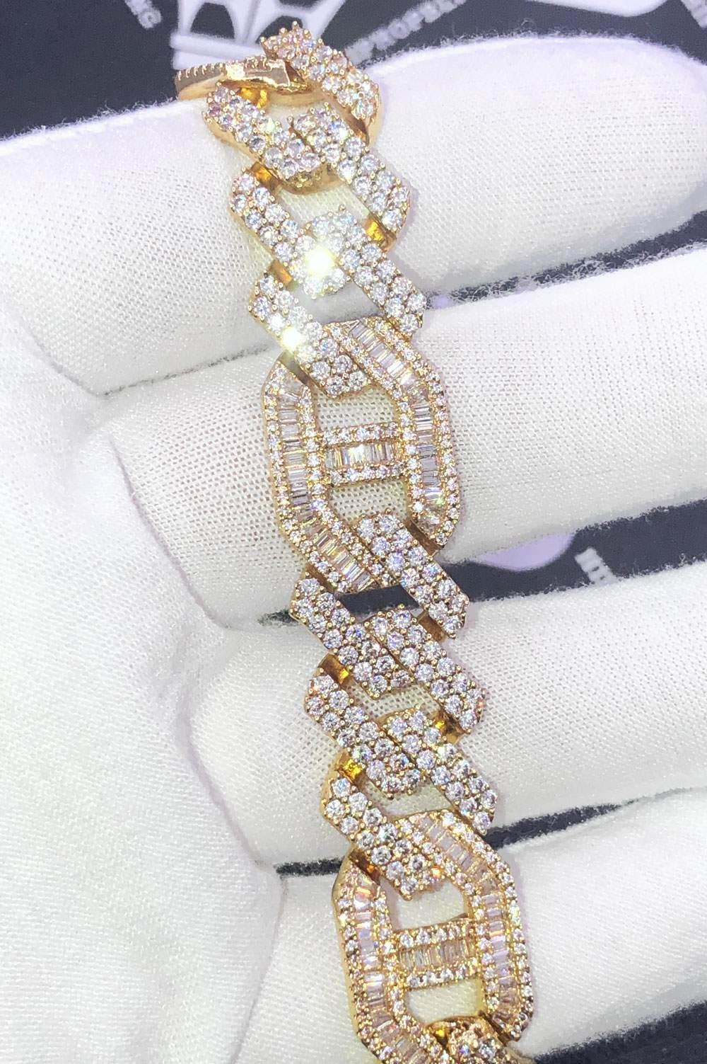 Sharp Baguette Mariner Figaro Iced Out Hip Hop Bracelet