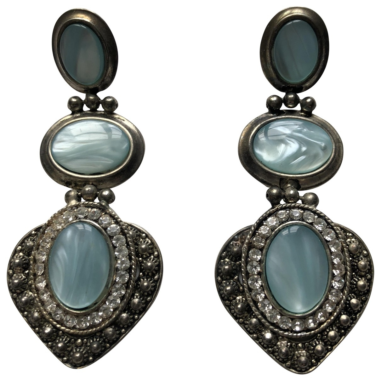 Non Signé / Unsigned Motifs Ethniques Anthracite Metal Earrings for Women \N