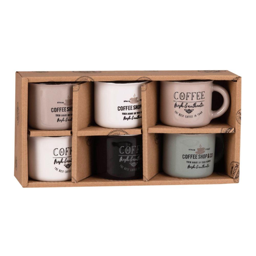 6-er Set Kaffeetassen aus bedruckter Keramik