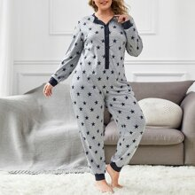 Plus Allover Star Print Button Front Sleep Jumpsuit