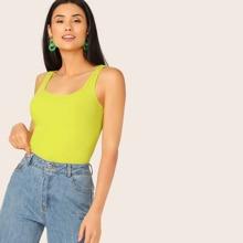 Neon Lime Rib-knit Tank Top