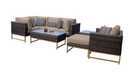 Barcelona BARCELONA-08n-GLD-WHEAT 8-Piece Patio Set 08n with 3 Corner Chairs  1 Club Chair  1 Armless Chair  1 Ottoman  1 End Table and 1 Coffee