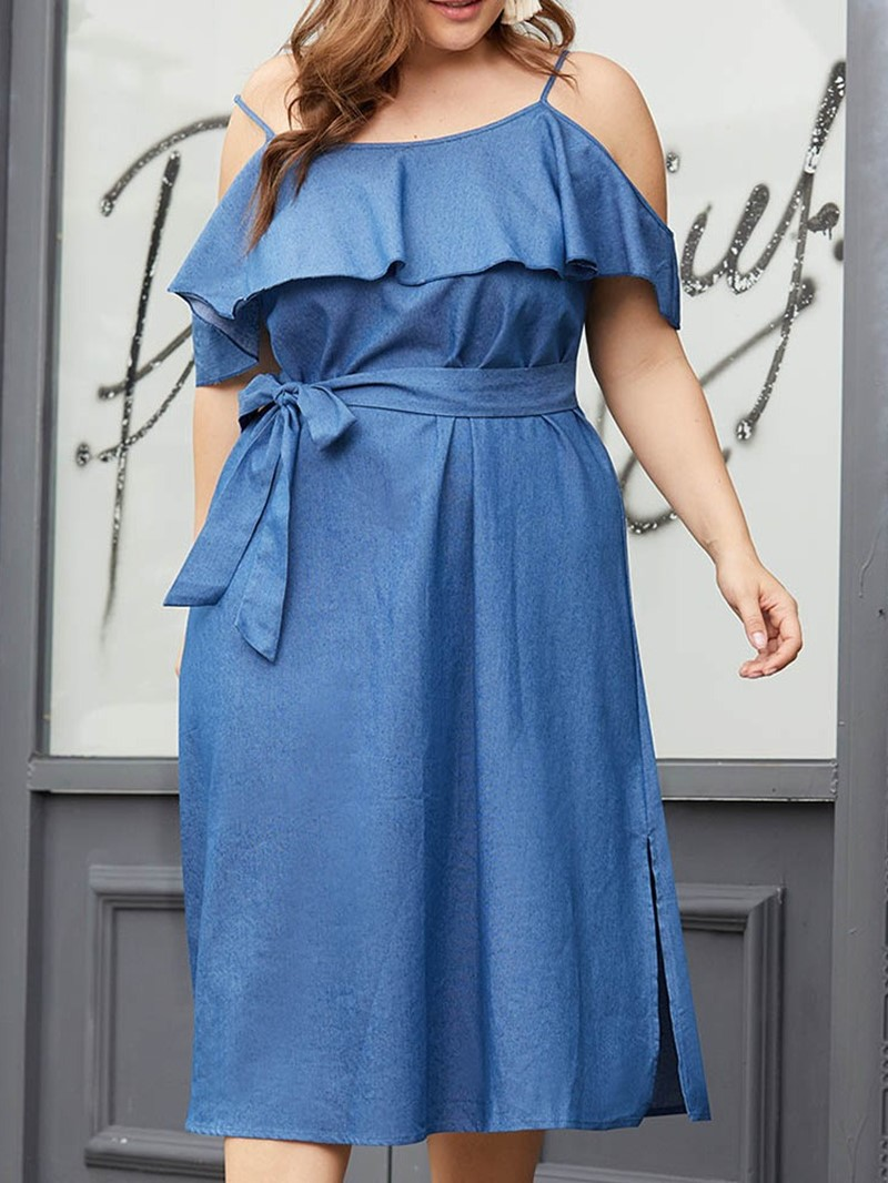 Ericdress A-Line Split Mid-Calf Spaghetti Strap Plus Size Dress