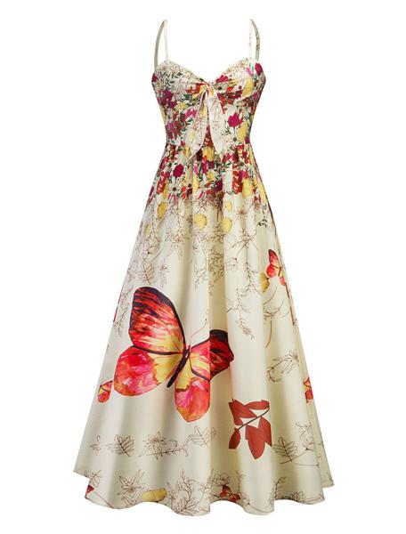 Milanoo Vestido largo Rosa Moda Mujer Mariposa sin mangas Vestidos de poliester con nudos con tirantes Verano Dating