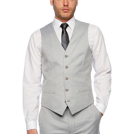 JF J.Ferrar Light Gray Slim Fit Suit Vest, Xx-large , Gray