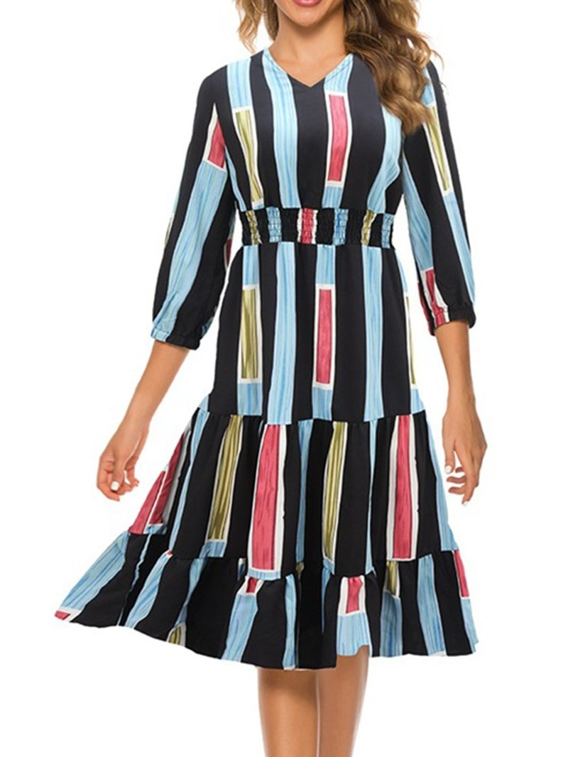 Ericdress Chiffon Print Three-Quarter Sleeve V-Neck Regular Dress