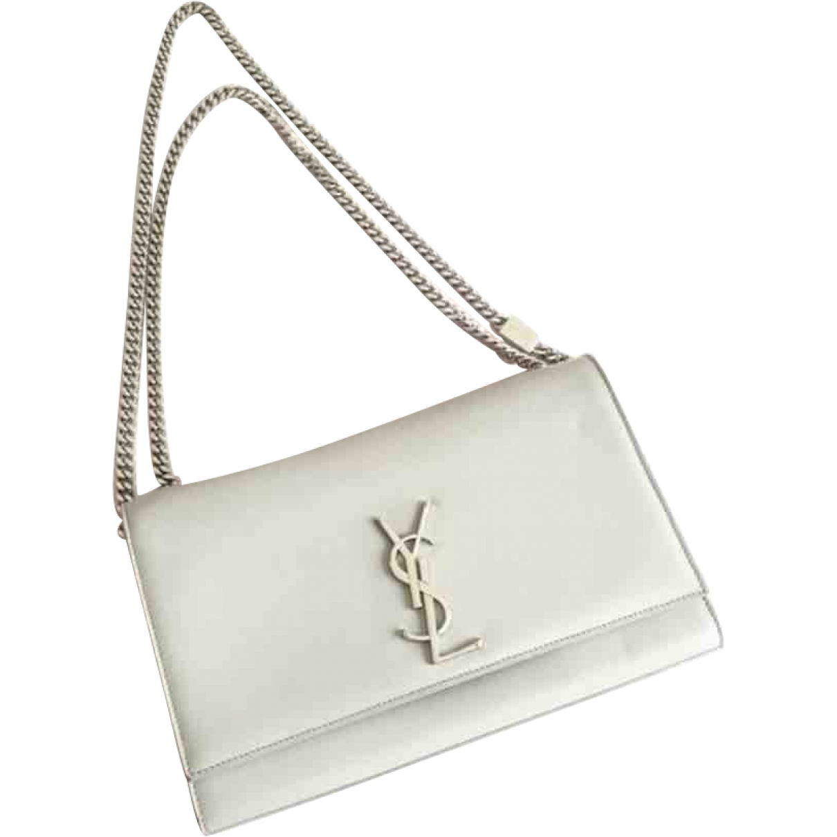 Saint Laurent Kate monogramme Grey Leather Clutch bag for Women \N