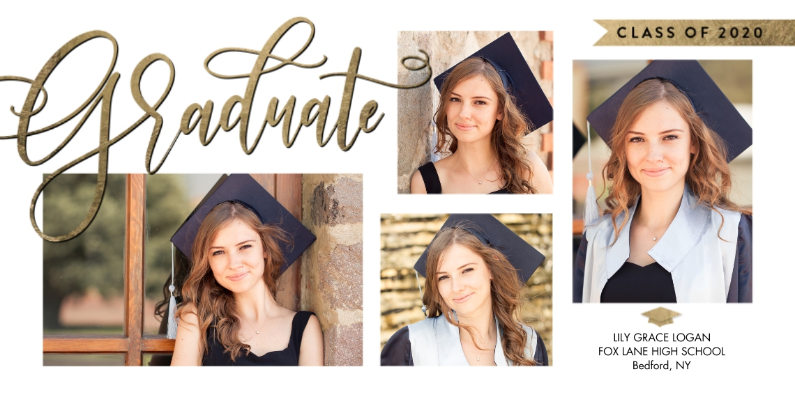 Graduation Announcements Flat Glossy Photo Paper Cards with Envelopes, 4x8, Card & Stationery -Class of 2020 Banner Script by Tumbalina