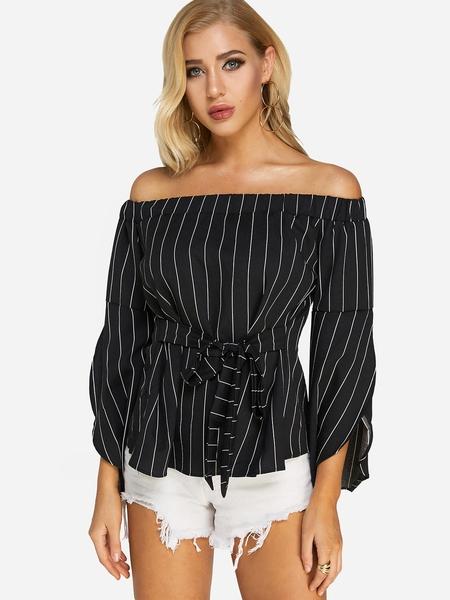 Yoins Black Stripe Off The Shoulder Flared Sleeves Top