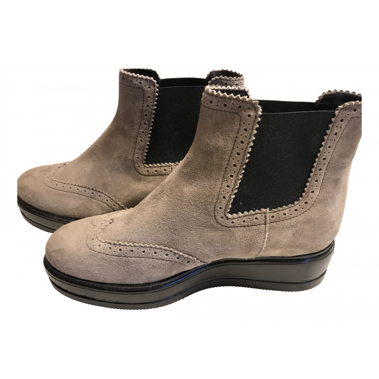 Hogan N Beige Leather Ankle boots for Women 37 EU