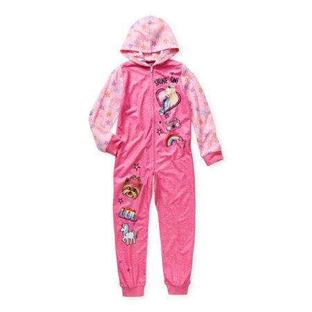 Little & Big Girls Microfleece Long Sleeve One Piece Pajama, 10 , Pink