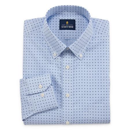 Stafford Mens Non-Iron Cotton Pinpoint Oxford Button Down Collar Stretch Big and Tall Dress Shirt, 22 38-39, Blue