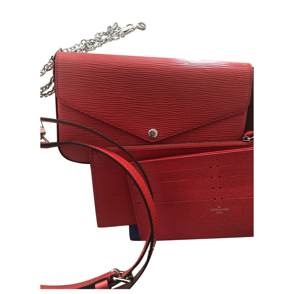 Louis Vuitton Félicie Red Leather Clutch bag for Women \N