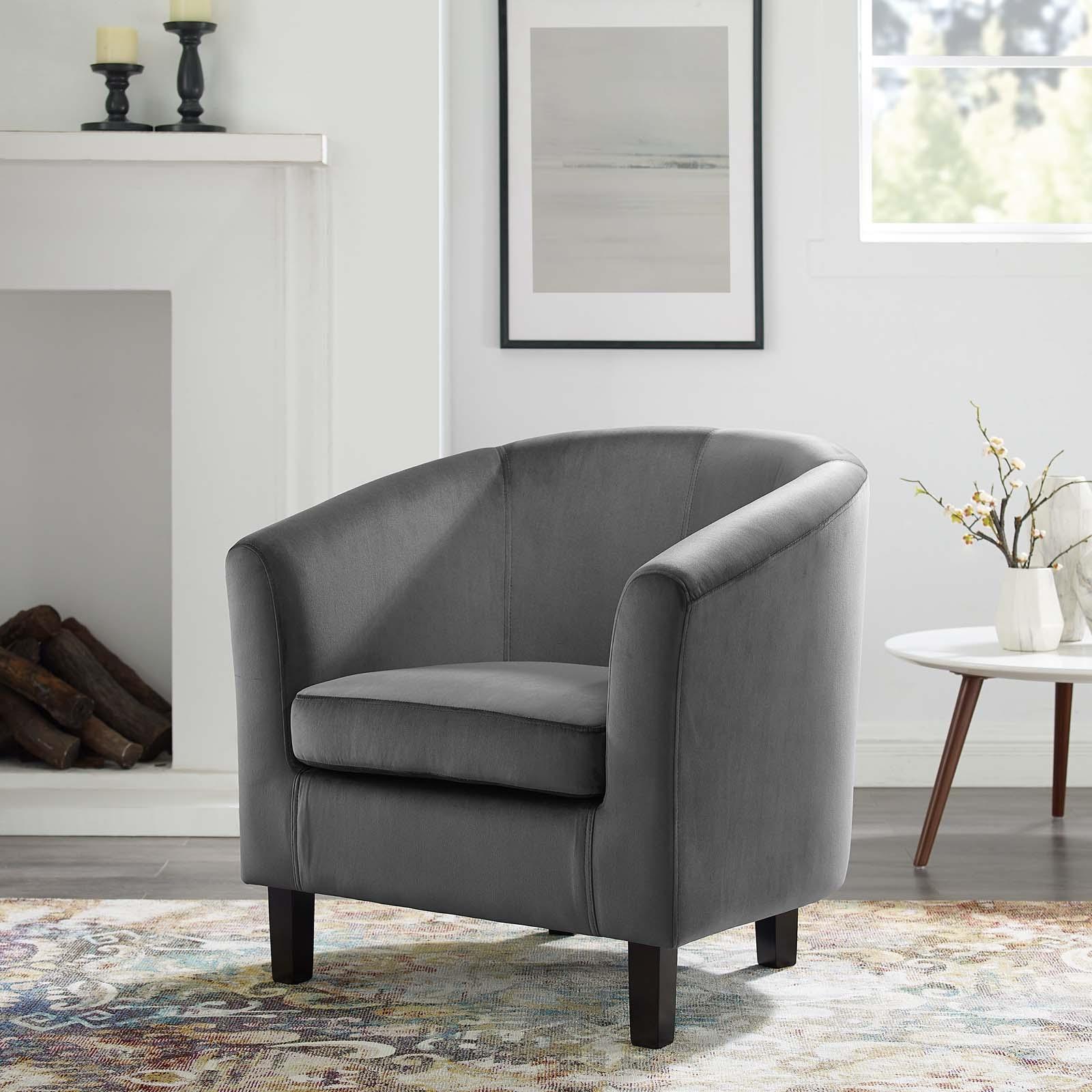 Prospect Performance Velvet Armchair in Charcoal