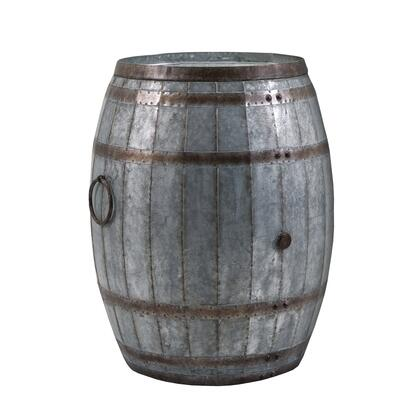 BM82436 Drum Shape Metal Wine Storage Table with Removable Lid  Rustic Brown and