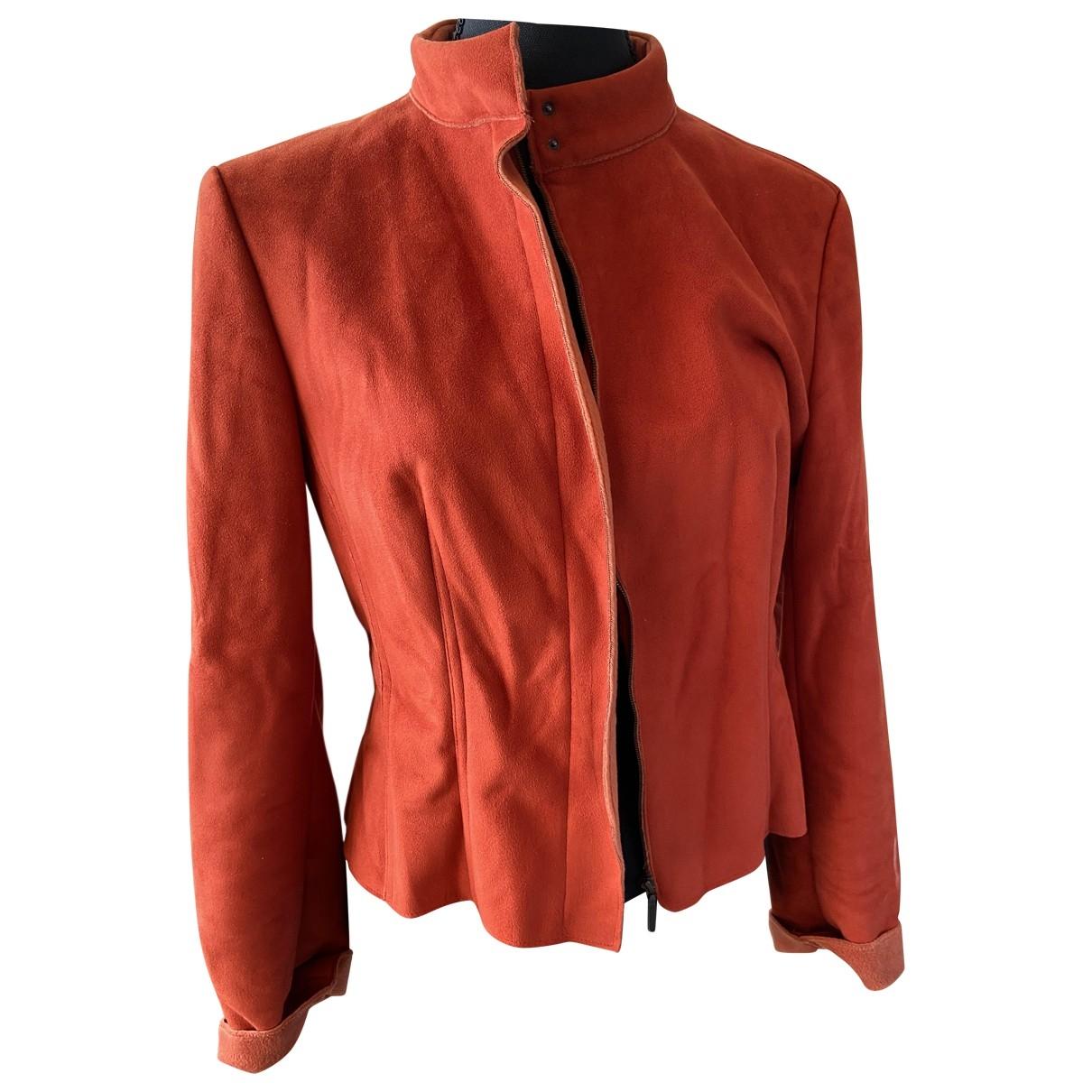 - Veste   pour femme en suede - orange