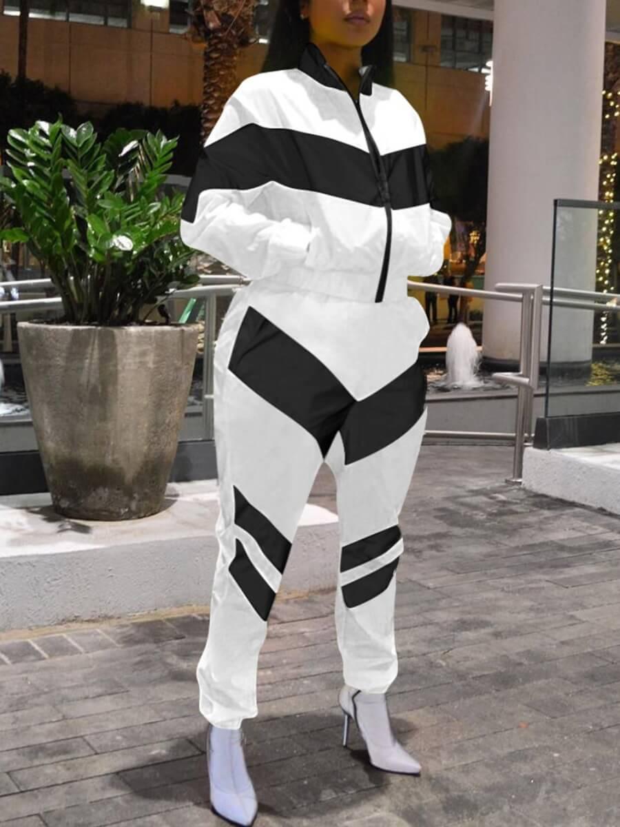 LW Lovely Casual Striped Patchwork Zipper Design Black Plus Size Two-piece Pants Set