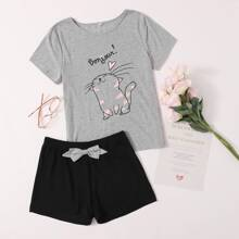 Cartoon Cat And Letter Graphic Pajama Set