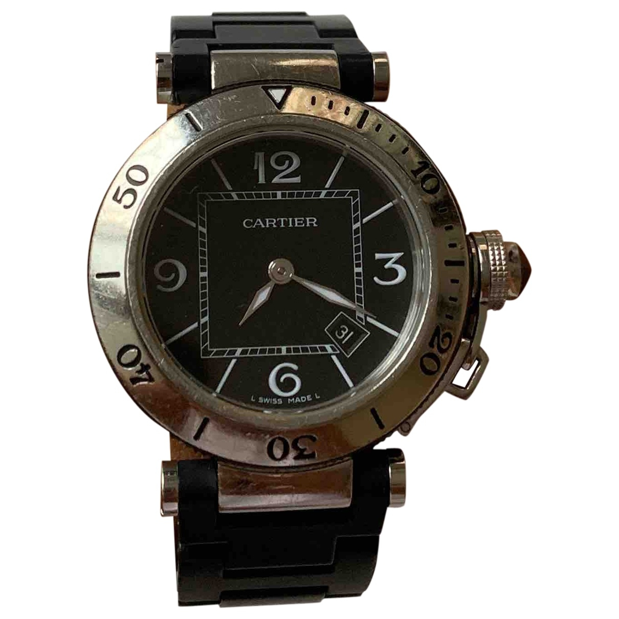 Cartier Pasha Seatimer Black Steel watch for Women \N