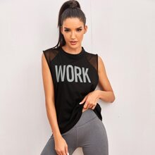 Letter Graphic Mesh Panel Sports Tank Top