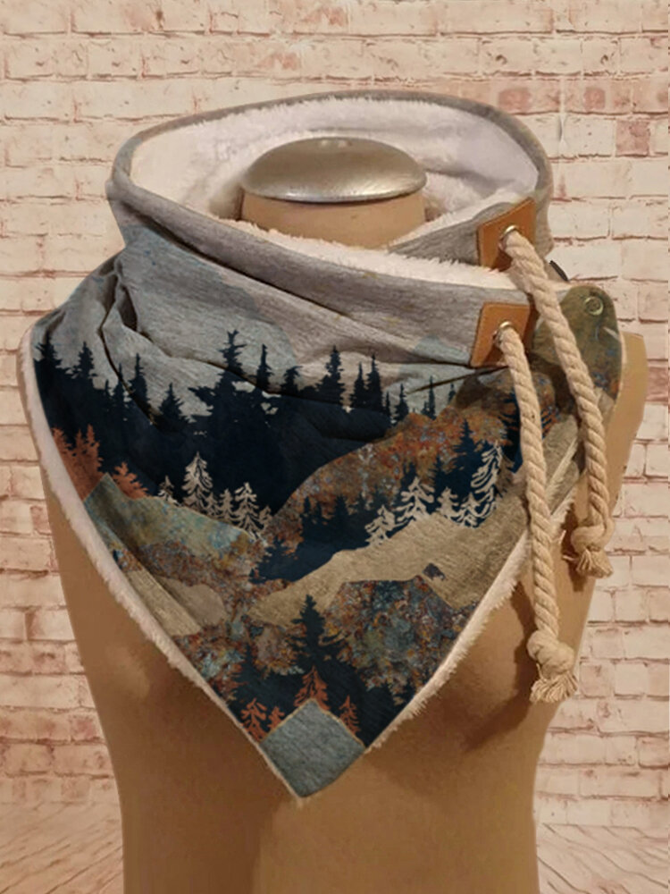 Women Mountain Treetop Print Pattern Soft Adjustable Neck Protection Keep Warm Scarf