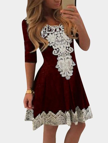 Yoins Burgundy Lace Insert Round Neck Half Sleeves High Waist Sexy Dress