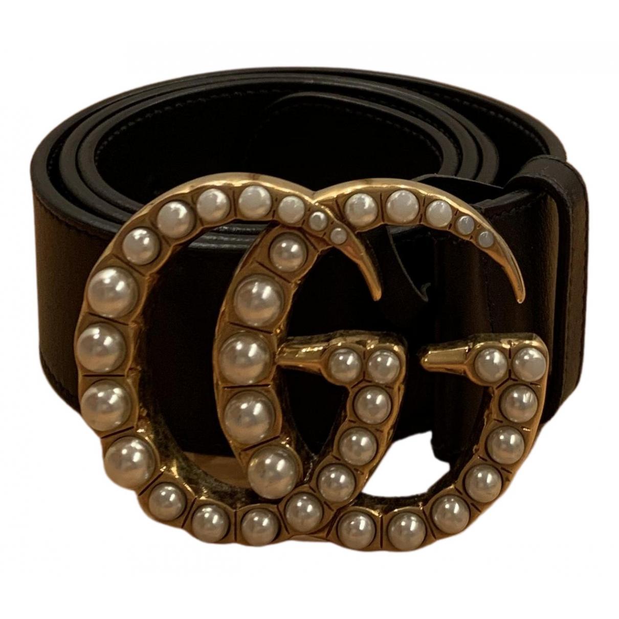 Gucci - Ceinture GG Buckle pour femme en cuir - noir