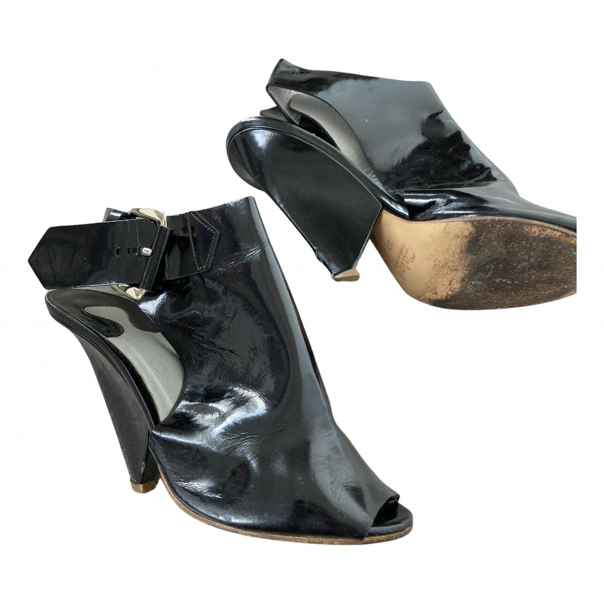 Chloe - Boots   pour femme en cuir verni - noir