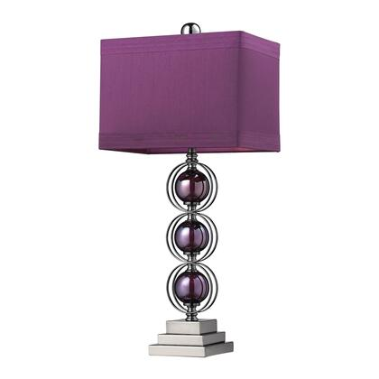 D2232 Alva Table Lamp  In Purple And Black Nickel With Purple Faux Silk Shade And Purple